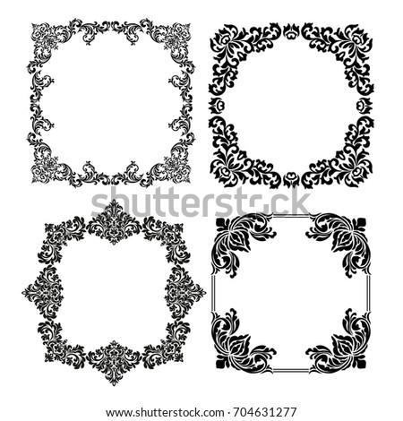 4ccb81ff4f5 Decorative vintage frames. Vector black borders isolated on white  background. Frame templates for cards design. Calligraphic frame for  decoration menu ...