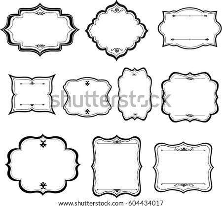Decorative Vintage Graphic Frames Borders Set Stock Vector (Royalty ...