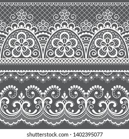 Decorative vintage lace seamless vector pattern, ornamental repetitive design with flowers and swirls in white on gray background. Beautiful laces frame, retro textile decoration