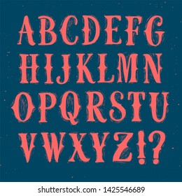 Decorative vintage printmaking style vector font with grungy texture. Hand drawn old style alphabet for your design.