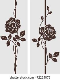 Decorative vintage rose silhouette. Vertical divider with flowers. Vector set of decorative floral elements for frame design.