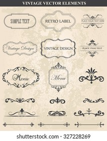 Decorative vintage set of calligraphic design elements: frames, borders, floral ornaments,  page decoration. Abstract vintage frame design in various styles. Vector Vintage Ornament