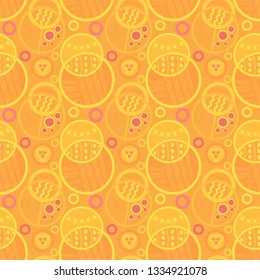Decorative vivid yellow and orange doodled circles seamless pattern tile for cheerful modern surface designs, textile, fabric, wallpaper, background, templates and backdrop
