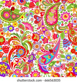 Decorative wallpaper with colorful ethnic flowers and paisley pattern