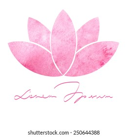 Decorative watercolor pink lotus flower on white background