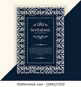 Decorative wedding invitation template, Vintage Pattern. Retro Victorian ornament, antique greeting cards, invitation with victorian ornaments, beautiful and luxury postcards