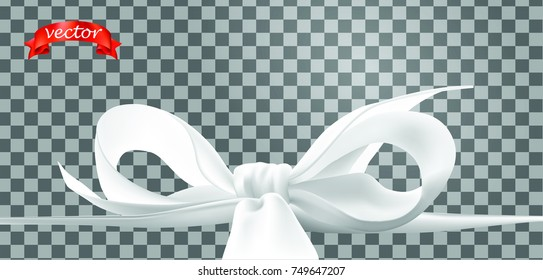 Decorative white bows for holiday gift. Shiny ribbon isolated on transparent. Vector bowknot for page decoration, postcard, greeting card, sale ads or web design. Wrap decoration for celebration