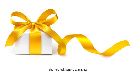 Decorative white gift box with golden bow and long ribbon isolated on white background. Vector illustration. Holiday decoration for your design