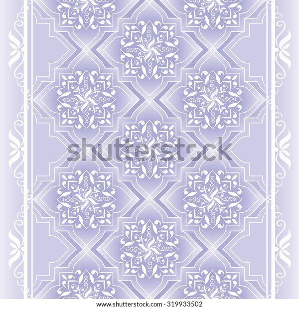 Decorative white seamless border on violet. Vintage border on violet. Ornate element for design and place for text. Ornamental lace pattern for wedding invitations and greeting cards.