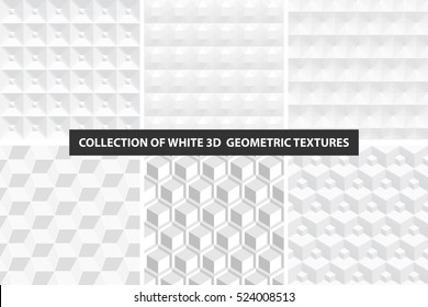 Decorative white seamless textures. Geometric cubes collection.