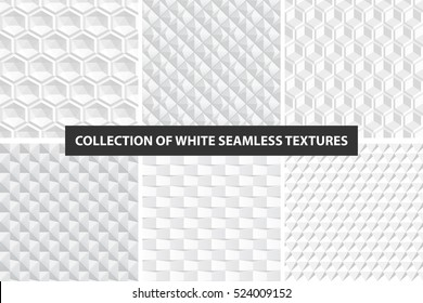 Decorative white seamless textures. Geometric vector collection.