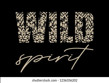 "Decorative ""Wild Spirit"" text with snake skin pattern"