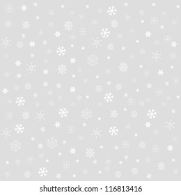 Decorative winter Christmas seamless texture with different line art snowflakes
