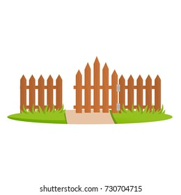 Decorative wooden fences. Exterior, appearance, design of gates and surrounding area. Lawn and tree next to fence, landscape. Outdoor fence architecture elements. Vector illustration.