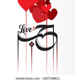 """DECORATIVE WORD - """"Love"""" translated in ARABIC CALLIGRAPHY, with vector hearts, greeting gift card"""