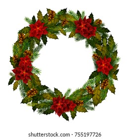 Decorative wreath for Happy New Year and Merry Christmas greeting background in vector