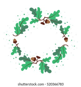 Decorative wreath of oak leaves and acorns. Circular vector ornament in hand drawing style.