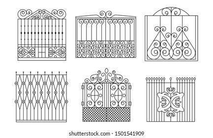 Decorative Wrought Iron Gates Set. Vintage Fences with Swirls. Vector Illustration.