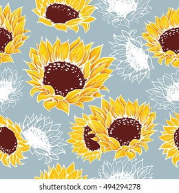 Decorative yellow sunflowers and bright flowers in one color on a gray background