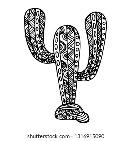 Decorative zentangle cactus. Vector template for decorating greeting cards, coloring books, art therapy, anti stress, print for t-shirt and textile.