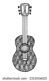 Decorative zentangle guitar. Vector template for decorating greeting cards, coloring books, art therapy, anti stress, print for t-shirt and textile.