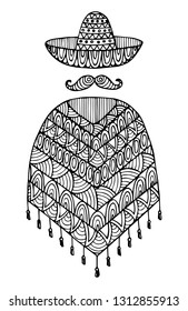 Decorative zentangle poncho and sombrero. Vector template for decorating greeting cards, coloring books, art therapy, anti stress, print for t-shirt and textile.