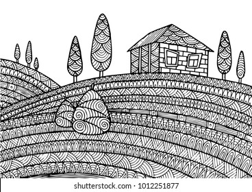 Decorative zentangle rural landscape. Decorative ornamental pattern for greeting cards, coloring books,print.