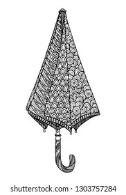 Decorative zentangle umbrella. Vector template for decorating greeting cards, coloring books, art therapy, anti stress, print for t-shirt and textile.