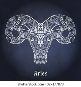 Decorative Zodiac sign Aries on night sky background in zentangle style
