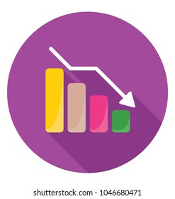 A decrease barchart for business loss indication