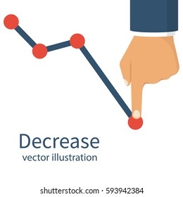 Decrease graph. Businessman hand down profit business chart. Stock financial trade market diagram. Vector illustration flat design. Isolated on white background. Declining graph. Downward arrow.
