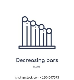 decreasing bars chart icon from user interface outline collection. Thin line decreasing bars chart icon isolated on white background.
