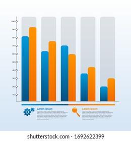 Abnehmende Graph-Balkendiagramm des wirtschaftlichen Drucks Finanzproblem Statistische Infografik