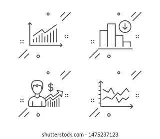 Decreasing graph, Business growth and Graph line icons set. Diagram chart sign. Crisis chart, Earnings results, Presentation diagram. Finance set. Line decreasing graph outline icon. Vector