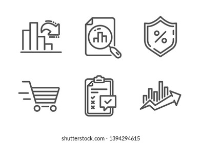 Decreasing graph, Checklist and Delivery shopping icons simple set. Analytics graph, Loan percent and Growth chart signs. Column chart, Survey. Finance set. Line decreasing graph icon. Editable stroke