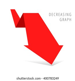 Decreasing graph concept. Red arrow depict recession business. Flat illustration of downward arrow with shadow as an element for infographic, article background for web, publish, social networks.