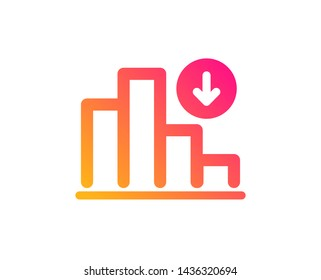 Decreasing graph icon. Column chart sign. Crisis diagram symbol. Classic flat style. Gradient decreasing graph icon. Vector