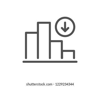 Decreasing graph line icon. Column chart sign. Crisis diagram symbol. Quality design flat app element. Editable stroke Decreasing graph icon. Vector
