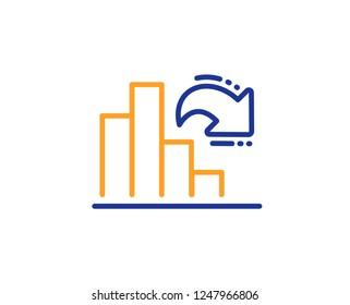 Decreasing graph line icon. Column chart sign. Market analytics symbol. Colorful outline concept. Blue and orange thin line color Decreasing graph icon. Vector