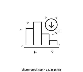 Decreasing graph line icon. Column chart sign. Crisis diagram symbol. Geometric shapes. Random cross elements. Linear Decreasing graph icon design. Vector