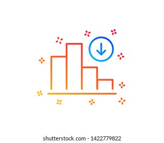 Decreasing graph line icon. Column chart sign. Crisis diagram symbol. Gradient design elements. Linear decreasing graph icon. Random shapes. Vector