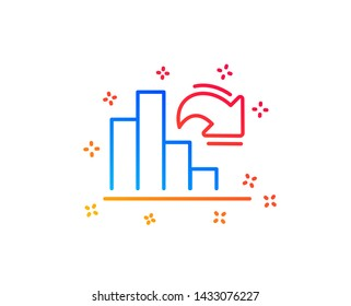 Decreasing graph line icon. Column chart sign. Market analytics symbol. Gradient design elements. Linear decreasing graph icon. Random shapes. Vector