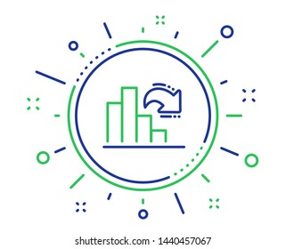 Decreasing graph line icon. Column chart sign. Market analytics symbol. Quality design elements. Technology decreasing graph button. Editable stroke. Vector