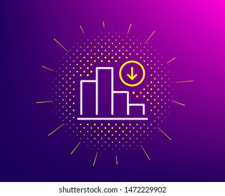 Decreasing graph line icon. Halftone pattern. Column chart sign. Crisis diagram symbol. Gradient background. Decreasing graph line icon. Yellow halftone pattern. Vector