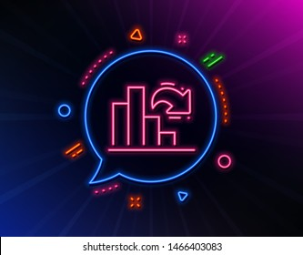 Decreasing graph line icon. Neon laser lights. Column chart sign. Market analytics symbol. Glow laser speech bubble. Neon lights chat bubble. Banner badge with decreasing graph icon. Vector