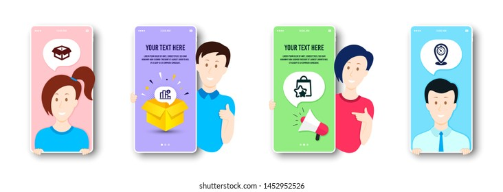 Decreasing graph, Loyalty points and Open box icons simple set. People on phone screen. Timer sign. Crisis chart, Bonus bags, Delivery package. Location pointer. Business set. Vector