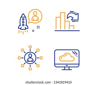 Decreasing graph, Networking and Startup icons simple set. Cloud storage sign. Column chart, Business communication, Developer. Computer. Science set. Linear decreasing graph icon. Colorful design set