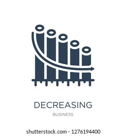 decreasing stocks bars graphic icon vector on white background, decreasing stocks bars graphic trendy filled icons from Business collection, decreasing stocks bars graphic vector illustration