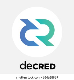 Decred (DCR) decentralized blockchain crypto currency. Decred coin vector logo and icon.