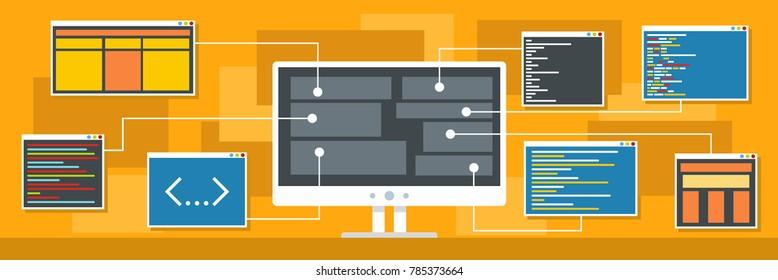 Decryption of data banner. Flat illustration of decryption of data vector banner for web.